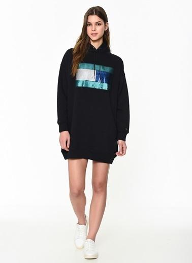 Tommy Hilfiger Kadın Hanna Hooded Dress Ls Elbise WW0WW23849 Siyah